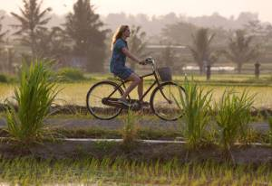 Eat Pray Love bicycling in Bali